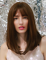 cheap -Cosplay Costume Wig Synthetic Wig Natural Wave Natural Straight Side Part Neat Bang With Bangs Wig Medium Length Brown Synthetic Hair 18 inch Women's Cosplay Party African American Wig Light Brown