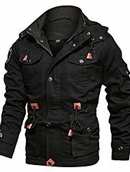 cheap -Men's Jacket Solid Colored ArmyGreen Black khaki M L XL XXL