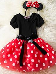 cheap -Kids Little Girls' Dress Cartoon Solid Colored Drawstring Red Fuchsia Above Knee Short Sleeve Cute Dresses