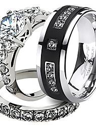 cheap -his & her stainless steel 2.50 ct cz bridal set & men's titanium wedding band women's women's size 07 men's size 10