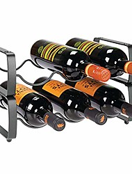 cheap -metal steel free-standing 12 bottle modular wine rack storage organizer for kitchen countertop, table top, pantry, fridge - holder for wine, beer, pop/soda, water, stackable - chrome