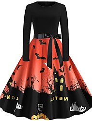 cheap -Halloween Women's A-Line Dress Knee Length Dress - Long Sleeve Pumpkin Bat Print Bow Patchwork Print Summer Hot Vintage Slim 2020 Blue Purple Wine Orange Green Gray Light Blue S M L XL XXL