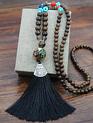 cheap -Women's Pendant Necklace Beaded Necklace Tassel Precious Blessed Luxury Ethnic Vintage Classic Wooden Resin Alloy Black Blue Purple Red Yellow 80 cm Necklace Jewelry 1pc For Street Gift Prom Birthday