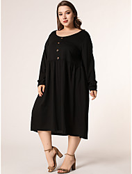cheap -Women's Swing Dress Midi Dress Black Long Sleeve Solid Color Button Print Fall Round Neck Elegant 2021 XL XXL 3XL 4XL / Plus Size
