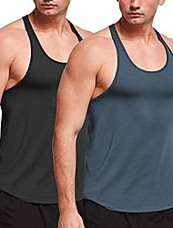 cheap -men's muscle tank tops y-back workout running sleeveless shirts 2 pack black/grey small