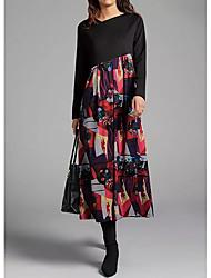 cheap -Women's Shift Dress Midi Dress - Long Sleeve Floral Print Spring Fall Casual Loose 2020 Black S M L XL XXL