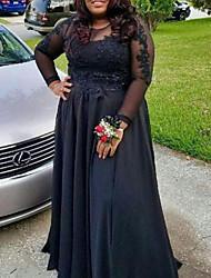 cheap -A-Line Plus Size Elegant Wedding Guest Formal Evening Dress Jewel Neck Long Sleeve Floor Length Lace Satin with Pleats Appliques 2021