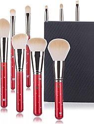 cheap -10 Pcs Christmas Makeup Brushes Red Fiber Hair Makeup Pen Brush Beauty Tools Makeup Brush Set