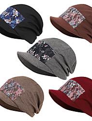 cheap -Women's Ski Hat Beanie Hat 1 PCS Winter Outdoor Portable Warm Soft Comfortable Skull Cap Beanie Hat Patchwork Wool Cotton Black Red Dark Gray for Ski / Snowboard Fishing Climbing