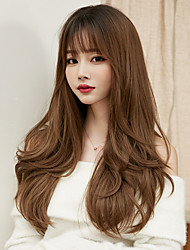 cheap -Synthetic Wig Curly With Bangs Wig Very Long Brown Pink Brown / Black Black Chocolate Synthetic Hair 24 inch Women's Classic Ombre Hair Fluffy Black Brown