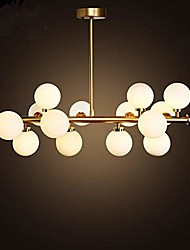 "cheap -16 Bulbs 90cm(35.4"") LED Gold Pendant Light Metal Glass Sputnik Electroplated 3.9"" Lampshades Molecular Nordic Chandelier for Home Bedroom Kitchen"