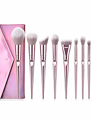 cheap -makeup brushes set 10 pieces professional cosmetic makeup brush kit with synthetic bristle for face powder foundation blending eye shadow concealer rose pink (light pink with bag)
