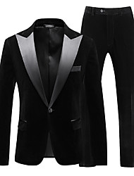 cheap -Tuxedos Standard Fit Peak Single Breasted One-button Cotton Blend / Polyester Geometic