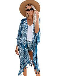 cheap -Women's Swimsuit Geometric Tassel Fringe Print Normal Swimwear Bathing Suits Blue Brown / Padless