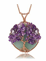 cheap -healing crystal green aventurine amethyst round stone pendant necklace tree of life copper wire wrapped necklaces handmade reiki quartz gemstone jewelry for womens