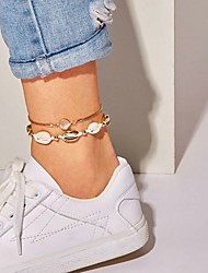 cheap -Anklet Women's Body Jewelry For Date Beach Hollow Out Synthetic Diamond Shell Alloy Weave Beige 1 set