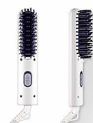 cheap -beard straightener for men (2019 new) ionic hair straightening brush beard/hair straightener anti-scald feature - for home & travel