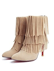 cheap -Women's Boots Stiletto Heel Pointed Toe Classic Daily Tassel Solid Colored Nubuck Booties / Ankle Boots Almond / Black / Red