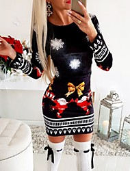 cheap -Women's Sheath Dress Short Mini Dress - Long Sleeve Print Fall Elegant Hot Christmas Cotton 2020 Black S M L XL XXL 3XL