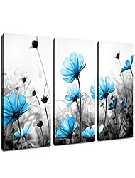 "cheap -wall art flowers canvas pictures teal blue wildflowers black and white background 3 piece canvas art blossom contemporary artwork for office kitchen wall decor home decoration 12""x 16"" x 3 panels"