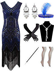 cheap -Charleston Vintage 1920s The Great Gatsby Vacation Dress Flapper Dress Costume Accessory Sets Women's Feather Costume Red / black / Golden+Black / White Vintage Cosplay / Gloves / Headwear / Earrings
