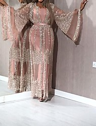cheap -Women's Shift Dress Maxi long Dress - Long Sleeve Solid Color Sequins Mesh Patchwork Fall Sexy Party Vacation 2020 Blushing Pink S M L XL XXL