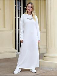 cheap -Women's Shift Dress Maxi long Dress - Long Sleeve Solid Color Patchwork Print Winter Plus Size Casual Slim 2020 White XL XXL 3XL 4XL
