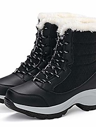 cheap -Women's Boots Snow Boots Booties Ankle Boots Sporty Waterproof Outdoor Hiking Shoes Walking Shoes Color Block Winter Black Red Gray