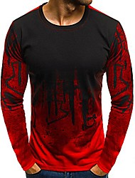 cheap -Men's T shirt Long Sleeve Tops Cotton Streetwear ArmyGreen White Red