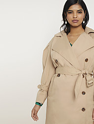 cheap -Women's Trench Coat Long Solid Colored Daily Basic Plus Size Khaki US14 / UK18 / EU46 US16 / UK20 / EU48 US18 / UK22 / EU50 US20 / UK24 / EU52 / Loose