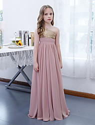 cheap -A-Line Floor Length Junior Bridesmaid Dress Party Chiffon Sleeveless One Shoulder with Pleats