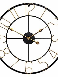 cheap -large wall clock light luxurious home decor silent black metal retro-gold clock,24 inch
