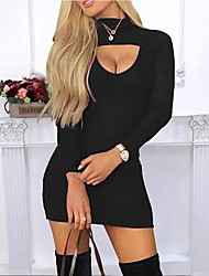 cheap -Women's Sweater Jumper Dress Short Mini Dress - Long Sleeve Solid Color Patchwork Fall Sexy Going out Slim 2020 Black Wine Dark Gray Navy Blue S M L XL XXL
