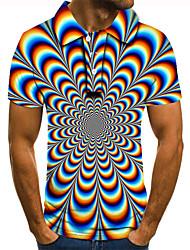 cheap -Men's Graphic Optical Illusion Polo 3D Print Print Short Sleeve Daily Tops Basic Rainbow