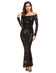 cheap -Women's Trumpet / Mermaid Dress Maxi long Dress - Long Sleeve Solid Color Lace Fall Sexy Party 2020 White Black S M L XL