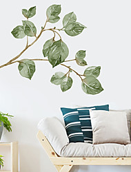 cheap -Botanical Wall Stickers Fresh Leaves Branches Wall Stickers Decorative Wall Stickers PVC Home Decoration Wall Decal Wall Decoration 1pc