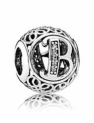 cheap -letter b alphabet charm 925 sterling silver bead fits pandora bracelet necklace