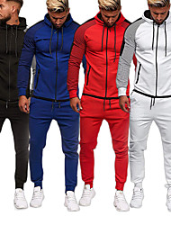 cheap -Men's 2-Piece Full Zip Tracksuit Sweatsuit Street Athleisure Long Sleeve Winter Cotton Thermal Warm Breathable Soft Fitness Gym Workout Running Active Training Jogging Sportswear Skinny Stripes Plus