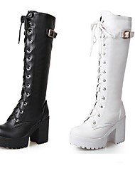 cheap -Women's Knee High Boots Block Heel Chunky Heel Slouch Boots Punk & Gothic Dress Lace-up Solid Colored Leatherette Knee High Boots Winter White / Black / EU42