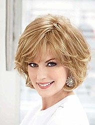 cheap -emmor blonde human hair wigs for women mixed healthy synthetic fiber layered wig with side part,natural daily use (color 30/613)