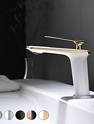cheap -Bathroom Sink Faucet - Chrome / Black / Chrome White / White Gold / Rose Gold Black Deck Mounted Centerset Single Handle One HoleBath Taps Vanity Basin Mixer Tap Vessel Sink Faucet Washroom Showerroom