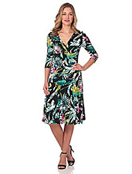 cheap -women's slimming 3/4 sleeve fit-and-flare crossover tummy control dress