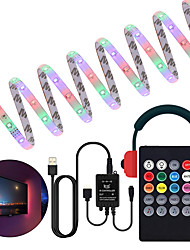 cheap -Music Control LED Light Strip 1M 2M 3M 4M 5M 2835 RGB SMD 54 LEDs Per Meters Tiktok LED Strip Lights with IR 24 Key Controller USB Port DC5V