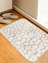 cheap -White Pebble Digital Printing Floor Mat Modern Bath Mats Nonwoven / Memory Foam Novelty Bathroom