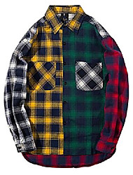 cheap -men women plaid shirts colour block long sleeve button up jackets oversized (colourful, xs)