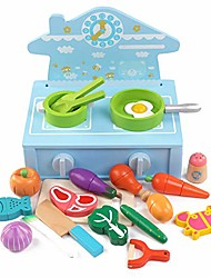 cheap -children's educational simulation kitchen toys, magnetic cut vegetables, cartoon cookware, bright colors, 22 pieces of accessories blue
