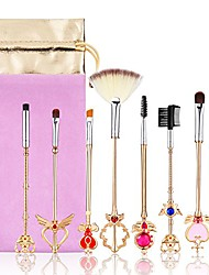 cheap -makeup brush,8pcs sailor moon gold makeup brush set with pouch, magical girl cute cosmetic makeup brushes with pink pouch