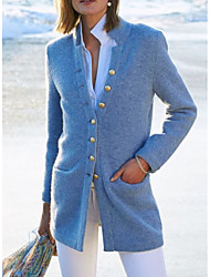 cheap -Women's Solid Colored Basic Fall & Winter Coat Long Daily Long Sleeve 55%Wool30%Silk15%linen Coat Tops Black