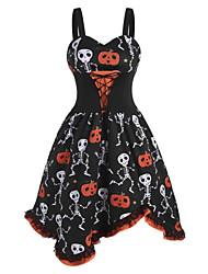 cheap -Halloween Women's A-Line Dress Knee Length Dress - Sleeveless Pumpkin Skulls Skeleton Print Lace Bow Patchwork Summer V Neck Hot Vintage Slim 2020 Black S M L XL XXL 3XL