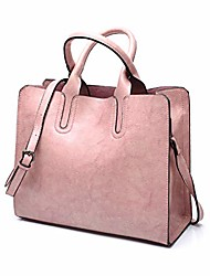 cheap -women top handle satchel fashion shoulder oil leather handbags bucket bag tote purse for ladies and girl (pink)